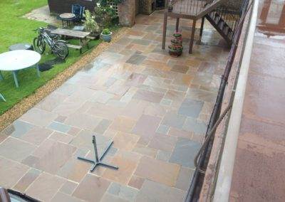 Indian Sandstone patio after cleaning