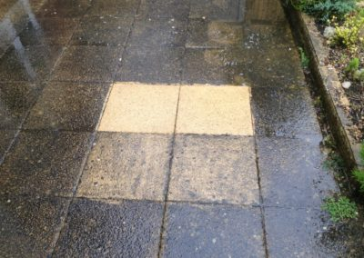 Concrete slab patio - two more slabs cleaned, using a commercial grade pressure washer