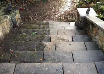 Stone steps during cleaning